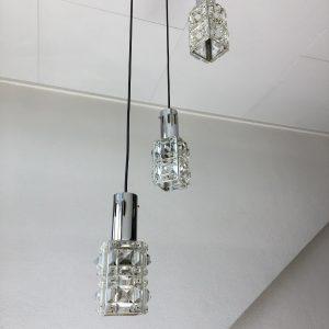 3 light pendent - rare Vintage 60's glass lamp echt
