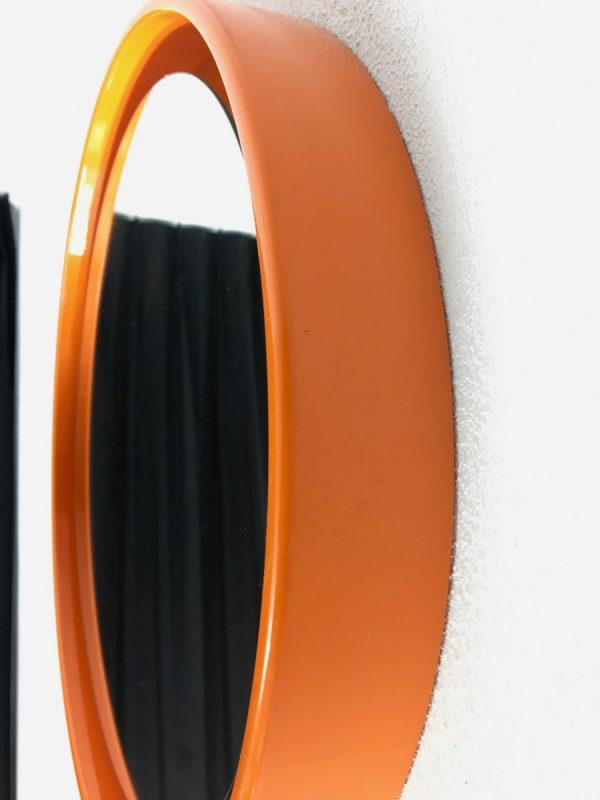 Orange Space Age 70's mirror - vintage retro round mirror