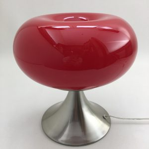 Prisma Leuchten mushroom lamp - red opaline glass metal table light - vintage