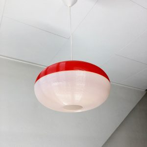 Rare vintage hanging lamp - 70's modern design pendant light - two-tone red white plastic