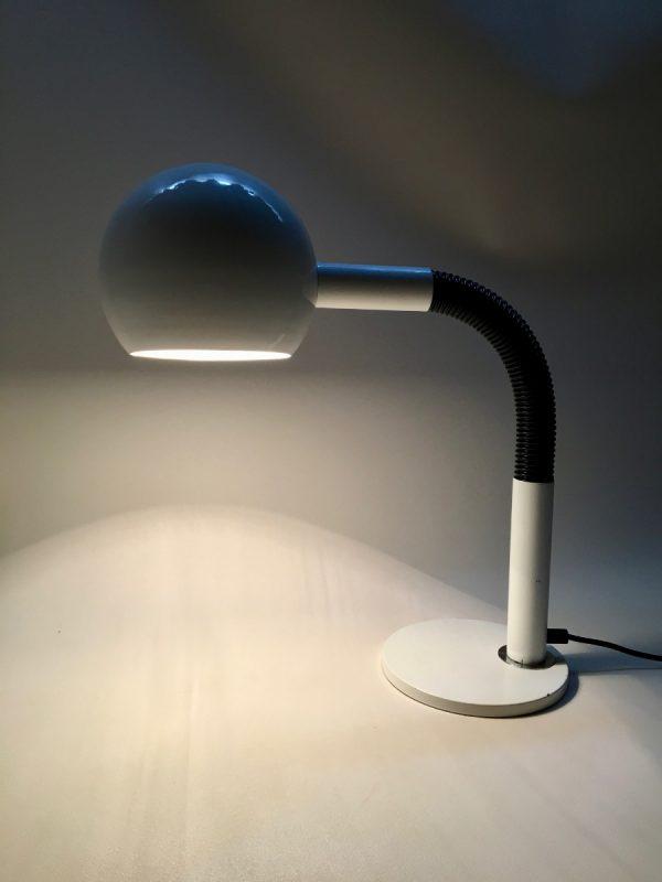 Vintage HALA Zeist light - white gooseneck XL - 70s flexible big desk lamp