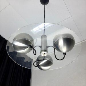 Vintage Raak Amsterdam pendent 3 light - Dutch Space Age design lamp - 70s space age