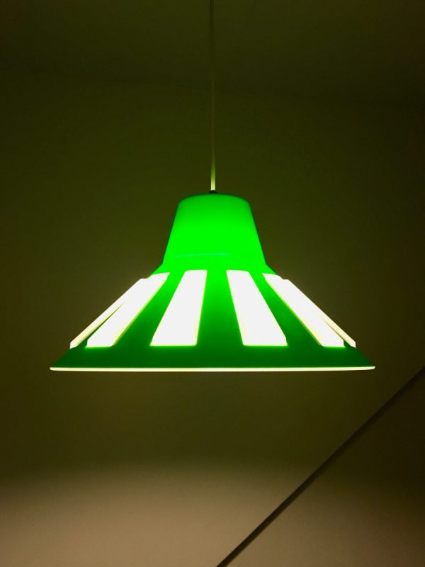 Vintage space age pendent lamp by Massive Belgium lime green UFO light hanging lamp
